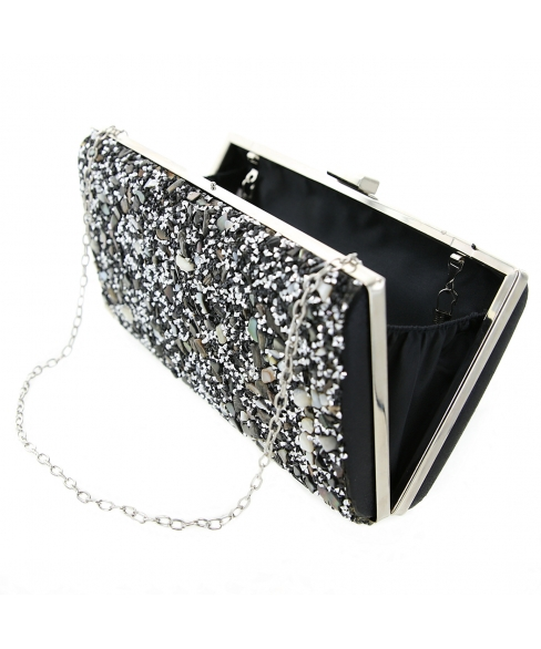 Glitter Crystal-Embellished Beaded Clutch