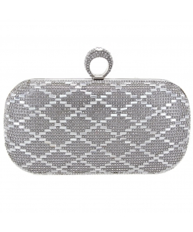 Ring Top Crystal-Embellished Clutch
