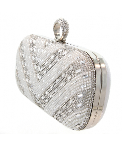 Ring Top Crystal & Pearl Embellished Clutch