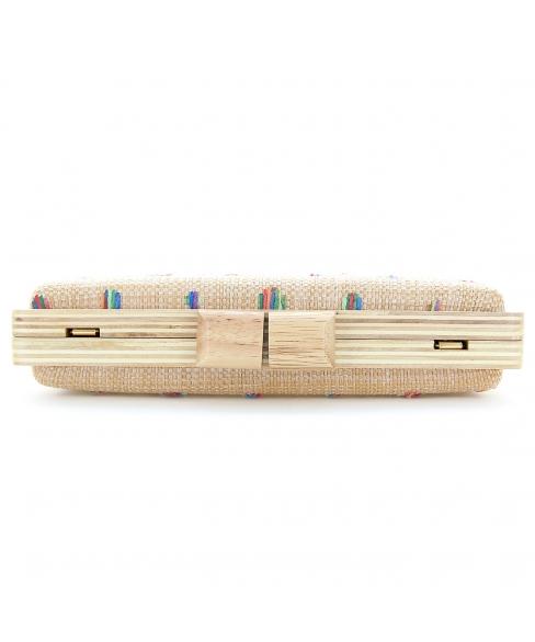 Raffia Straw Wood Frame Clutch