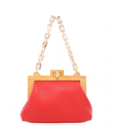 Acrylic Chain Handle Vegan Leather Clutch Bag