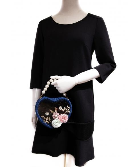 Pearl Handle Heart Clear Woven Frame Bag