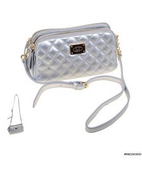 Double compartemet diamond quilting crossbody bag