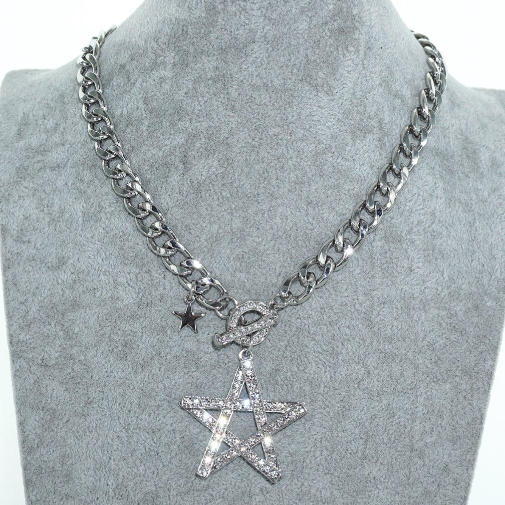 Sparkling Crystal Block Ring Chandelier: Sparkling Crystal Star Pendant Necklace