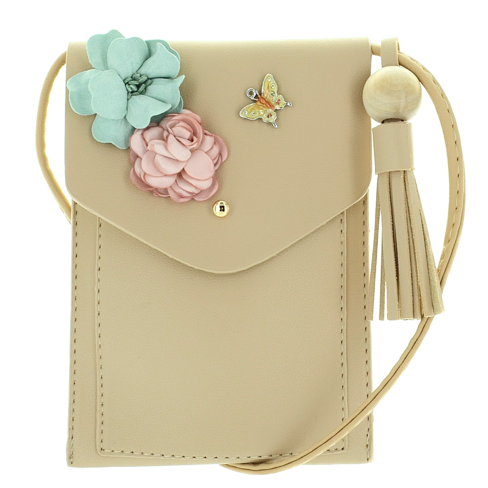 Floral Applique Faux Leather Crossbody Mini Bag | 322407-210 | ESwanNY