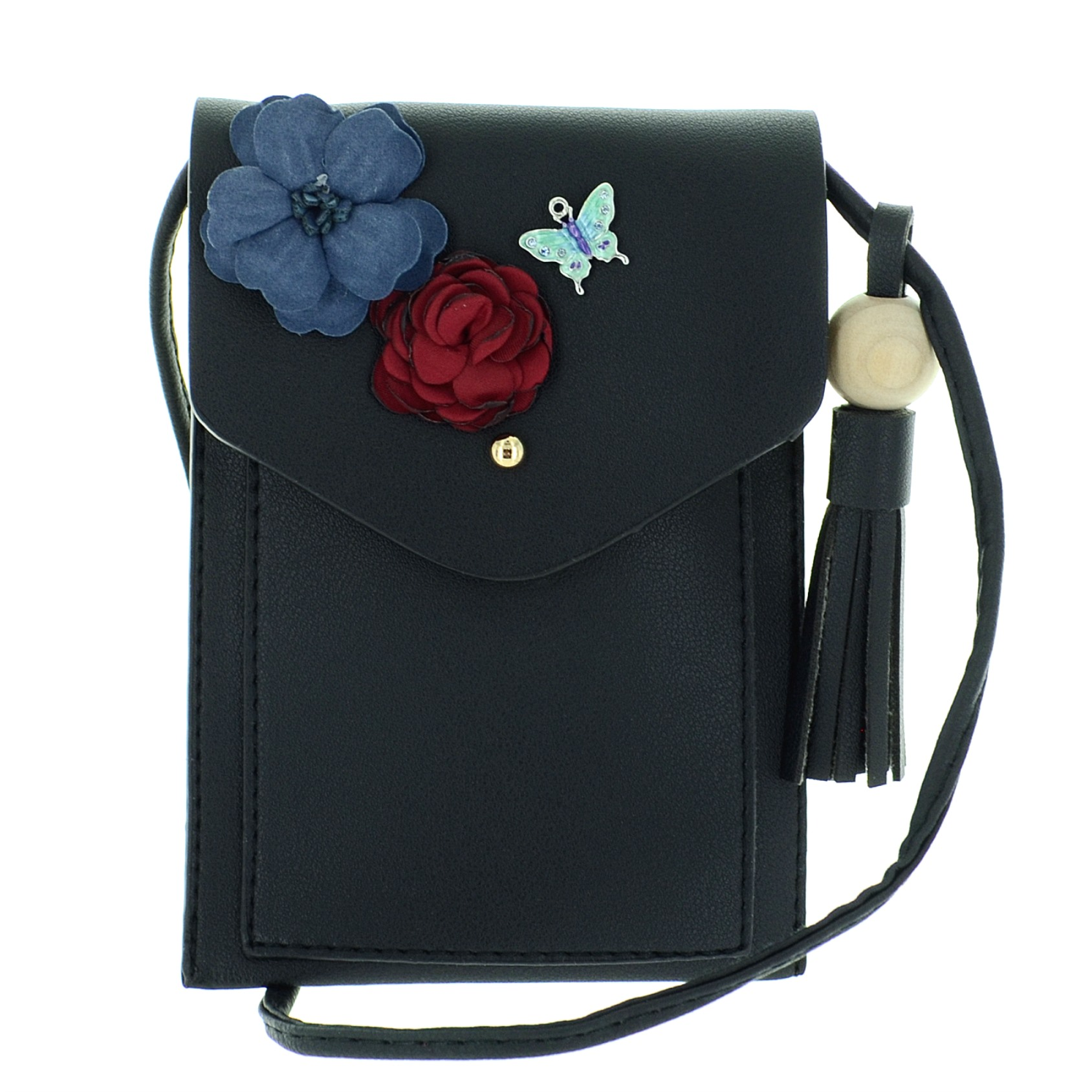 Floral Applique Faux Leather Crossbody Mini Bag | 322407-910 | ESwanNY