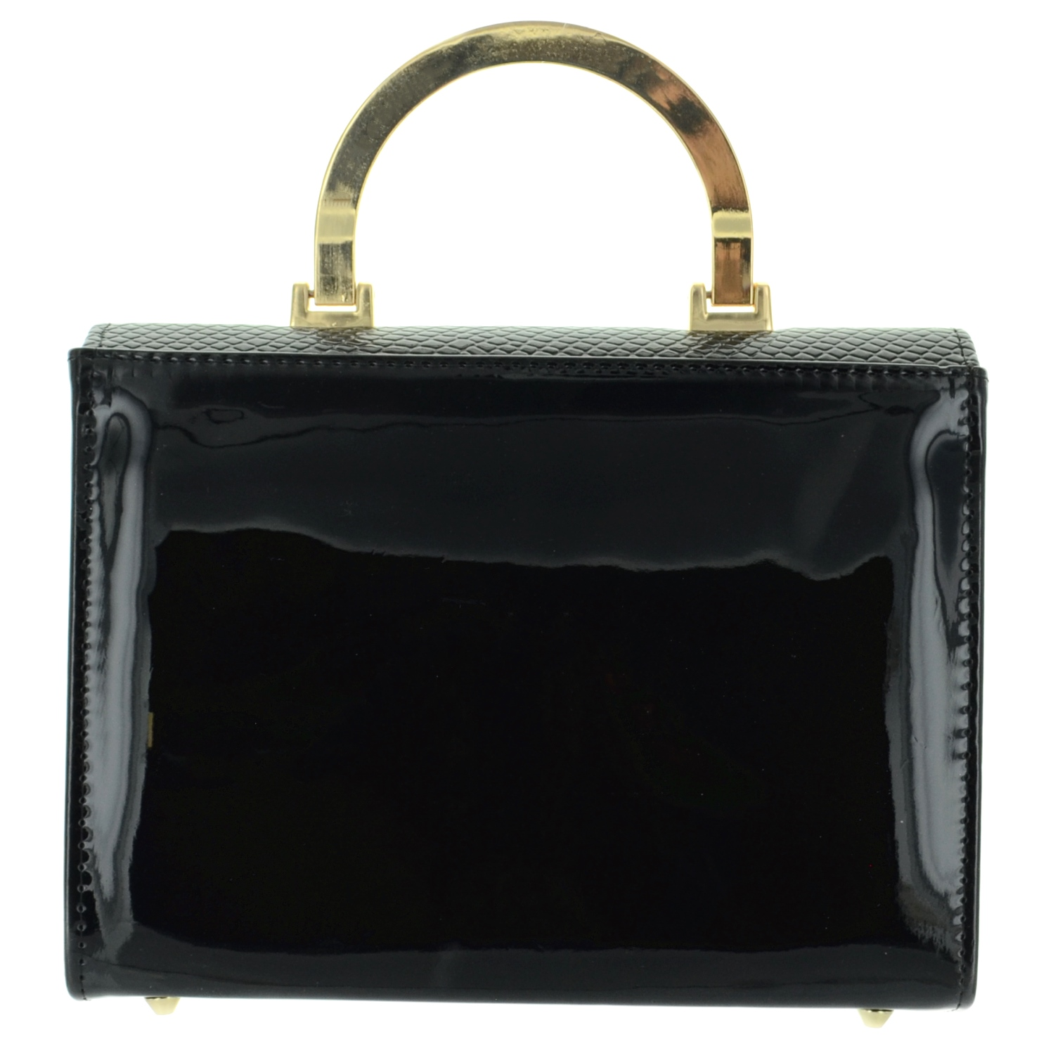 Vintage Inspired Faux Patent Leather Clutch